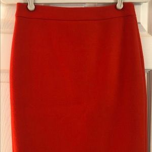 JCrew Wool No.2 Pencil Skirt, fire red, size 00